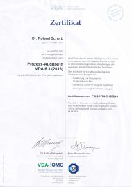 VDA 6.3 Zertifikat